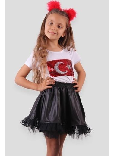 Breeze Kız Çocuk Tişört Pullu  Ay Yıldızlı Beyaz